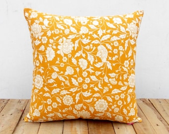 Yellow ochre throw pillow cover, Kalamkari print, Indian ethinic, cotton pillow, sizes available.
