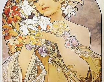 Flower La Fleur Art Nouveau Poster Art Print Q10