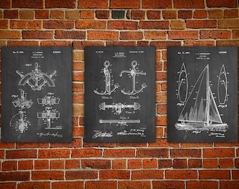 Sailboat blueprint nautical wall art patent print group sailboat art nautical wall art patent print group patent print set yacht malvernweather Images
