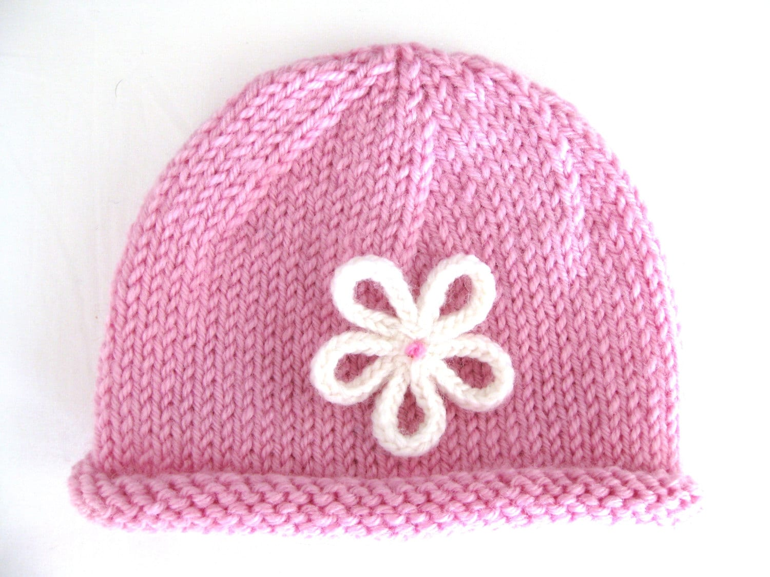 PATTERN Knitted PREEMIE and NEWBORN Rolled Brim Hat with Flower from ...