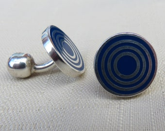 Sterling Silver and Blue Enamel Round Cuff Links Wedding Cuff Links 925 Silver Wedding Man Accessories.Groom, Best Man ,Father's Day Gift