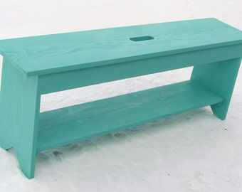 Entryway Bench, Wood Bench, Storage Bench, Coffee Table, Shoe Storage, Bedroom Bedroom Seating Painted Furniture Cottage Beach Custom