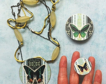 Jewelry set -paper jewelry -butterfly paper necklace -paper butterfly brooch -paper rings- nature- jewelry discount - sale