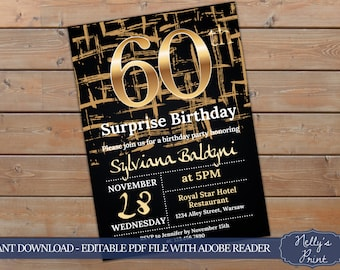60th Surprise Birthday Invitation,Surprise 60th Birthday Invitation, Adult Birthday Invitation, Self Editable PDF, Instant Download, Women