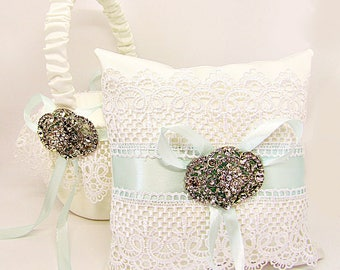 Ring Bearer Pillow, Flower girl basket, Aqua Wedding Accessories, Aqua Bearer Pillow,  Rhinestone Brooch, White Satin, Lace Wedding