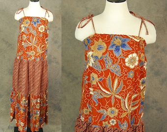 vintage 70s Hawaiian Dress - 1970s Boho Terracotta Floral Batik Maxi Dress Tent Dress Ethnic Hippie Dress Sz S M