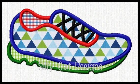 Running Shoe Machine Embroidery Applique Design