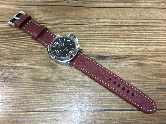 Leather watch band, leather watch strap, 24mm watch band, Maroon red watch band, 24mm watch strap, 26mm strap, watch band, FREE SHIPPING