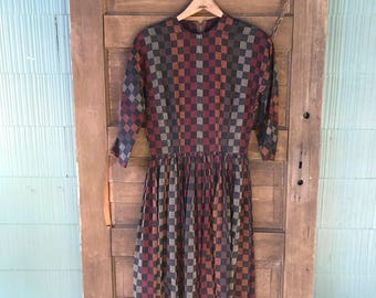 Vintage 50's/60's Brown Checkered Striped Tapestry Square Dancing Dress size Small