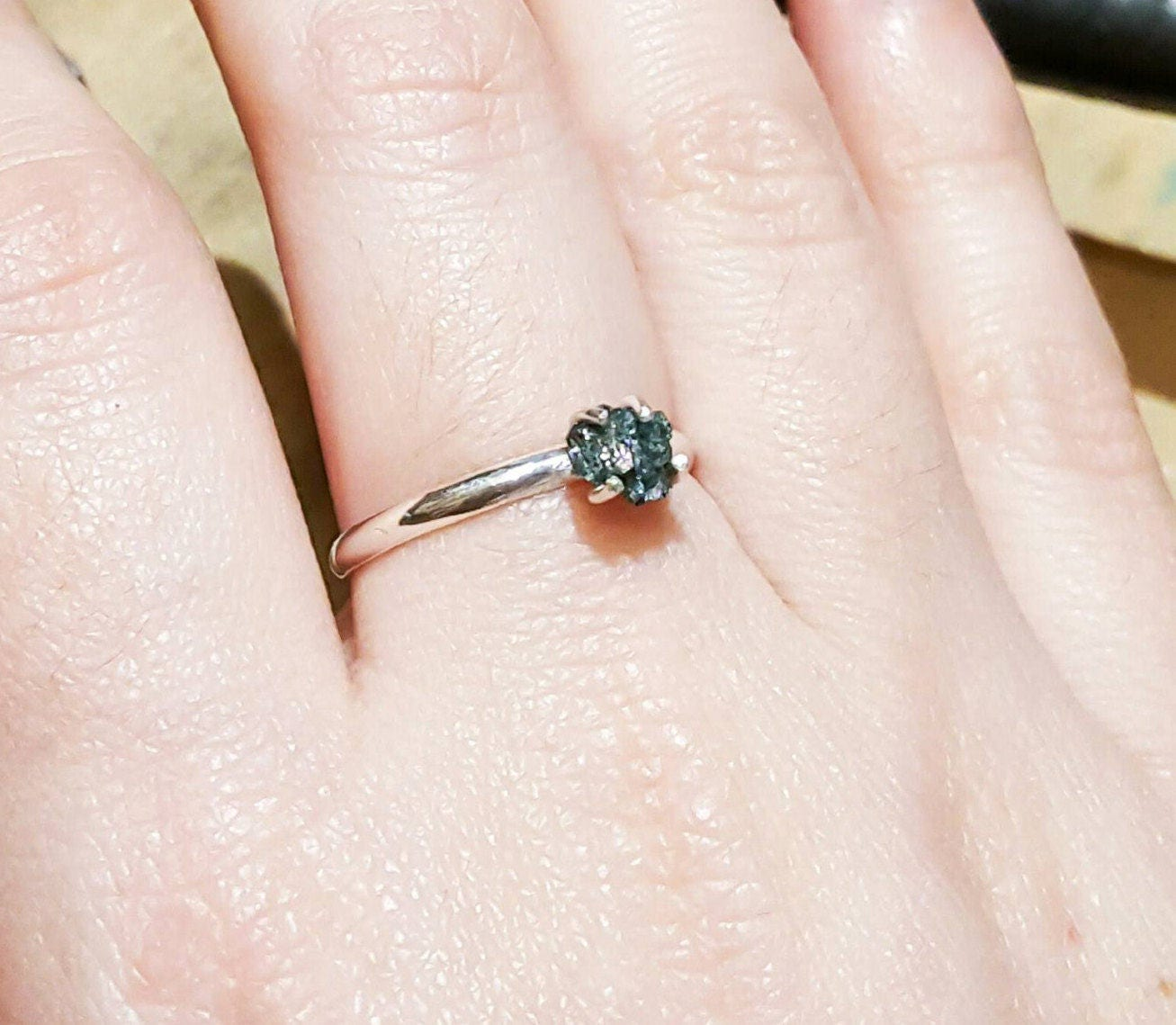 Raw Blue Diamond, Silver Ring, Genuine, Solitaire, Dainty Diamond ...