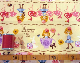 Alice in wonderland fabric cream white color one yard