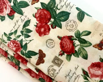 Large Cotton Napkins-Red Roses-Nostalgic Diary-Postcard-Butterfly-Vintage Keepsake Print. Spring Table Decor-Easter-Mothers Day Napkins.