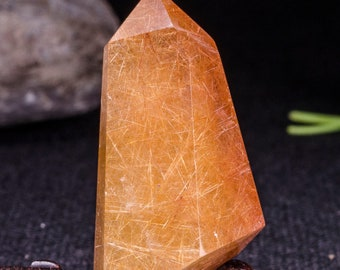 Rare Large Golden Rutilated Quartz Tower/Gold Threads Icluded in Crystal Point/Golded Needels Crystal Quartz Point-23*27*48mm-35g#5131