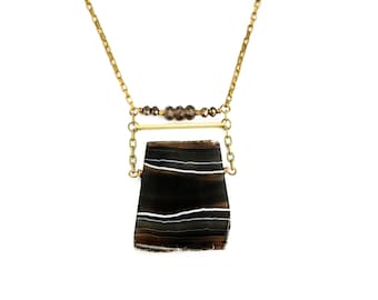 Banded Agate EDGY PETAL Necklace Black Agate, Smoky Quartz and Charcoal Crystal Raw Antique Brass