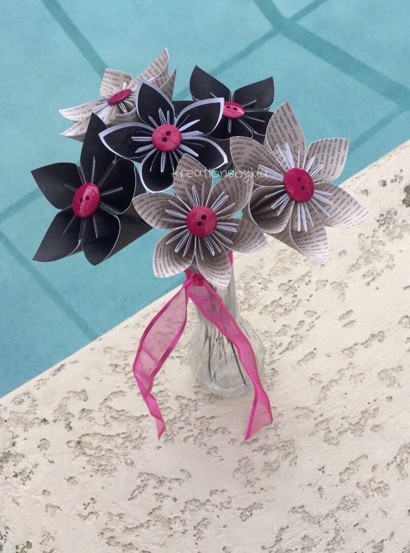 Origami paper flowers with stems wedding decorations zoom mightylinksfo