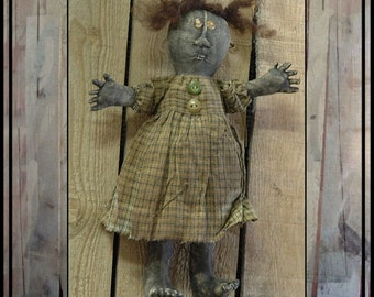 Bizzy Lizzy primitive folk art doll instant download digital pattern HAFAIR OFG FAAP