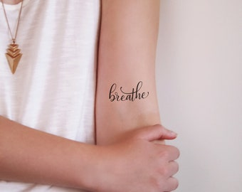 Breathe temporary tattoo / word tattoo / small temporary tattoo / quote tattoo / breathe tattoo