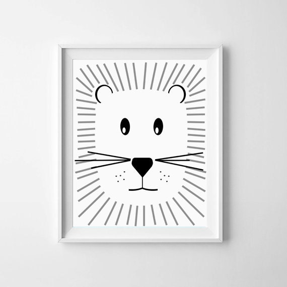 Illustration nursery printable baby lion black and white