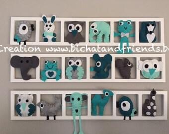 kids room decor, wall frame, animals, blue, aqua, gray, sur-meure