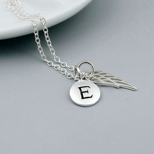 Personalized Silver Wing Necklace, sterling silver, remembrance jewelry, dainty angel wing necklace, initial