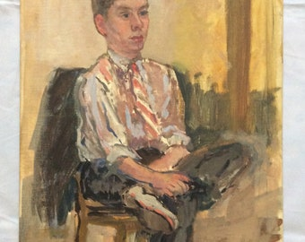 Vintage Original Portrait Painting of Young Man, Mid Century