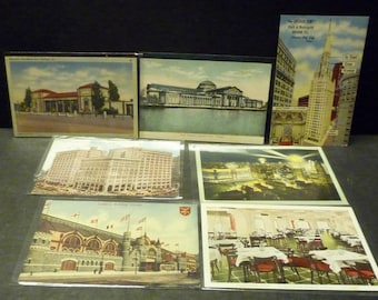 7 Chicago, Illinois -1950's Linen various buildings- unused