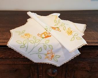 Vintage Embroidered Table Runner, Dresser Runner, Yellow Roses