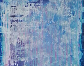 Abstract painting. Original on canvas. Blue, pink, purple, white abstract