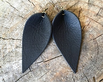 Black Leather Earrings, Leather Leaf Earrings, Western Earrings, Western Jewelry Earrings