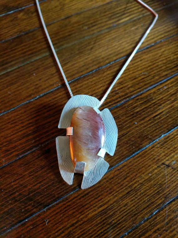 Rutilated Quartz with sterling silver Necklace