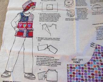 Girls Vest Hat Sewing Panel Size S,M,L Children Clothing Simplicity