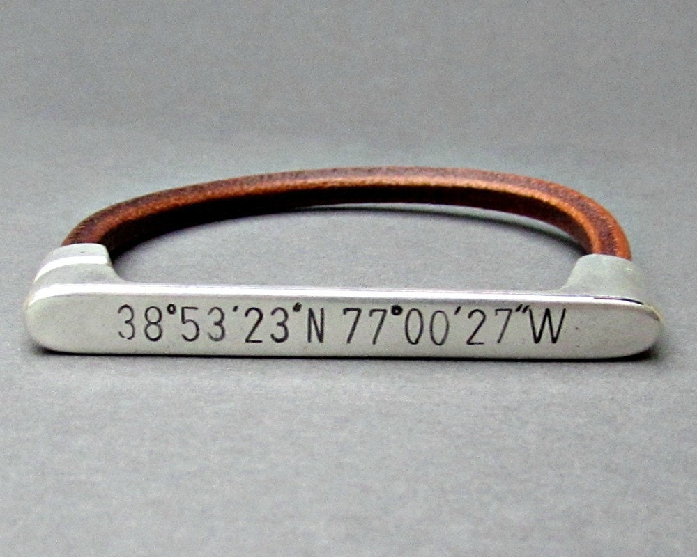 latitude pin longitude coordinate engraved inch bracelet inches custom long