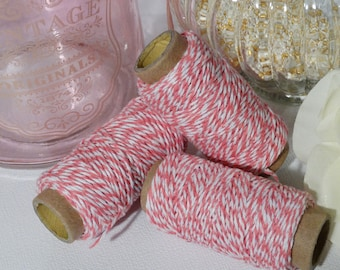 Reel 20 meters Baker twine pink and white