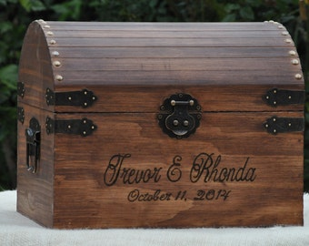 Large Rustic Wedding Card Box Treasure Chest