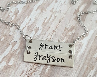 Custom hand stamped, Personalized, JBK, bar necklace