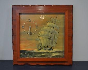Sailing Ship Framed Clock