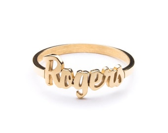 PERSONALIZED NAME ring gold name ring stackable custom personalized engraved ring ring ring initials ring  / name ring gold /signet ring /