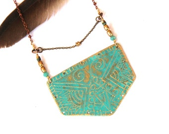 Etched Brass Tribal Shield Necklace (P3023)
