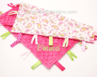 Personalized Tag Ribbon Blanket Lovey - Hot Pink Minky with Pink and Lime Paisley Print Satin