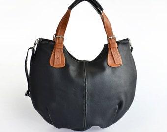 Leather HOBO Bag, Leather Shoulder Bag, Cross Body Handbag, Large Hobo, Leather Purse, Everyday Shopper Bag, Leather Bag, Black Brown Hobo