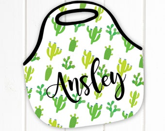 Personalized Lunch Tote, Cactus, Neoprene Lunch Tote, Lunch Bag, Lunch Box - Monogram Lunch Tote-Lunch Bag, Monogrammed lunch tote