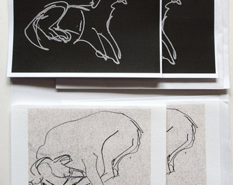 2 pairs of original dog drawings, inkjet printed cards