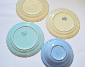 1940's Four Lu-Ray Pastels Taylor Smith Taylor Pottery Pieces Three Bread/Dessert Plates and One Fruit Bowl