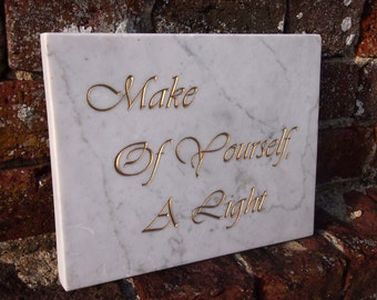 Hand Carved Quote (The Final Words of The Bhudda) in Marble Wall Panel.  Spiritual Letter Carving.  Decorative Arts