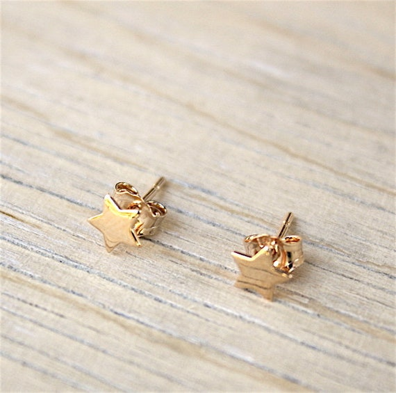 3 Micron 18 ct gold plated star earrings