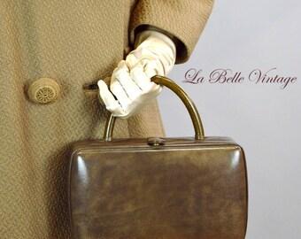 60s Taupe Box Purse Vintage Prestige Leather Handbag