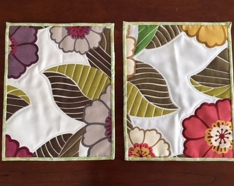 Quilted Placemats, Tropical Flowers, Set of 2