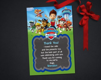 Personalized Paw Patrol Thank You Card Pink First 1st Birthday Party Chalkboard Chase Everest Marshall Rubble Printable DIY - Digital File