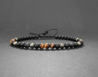Mens bracelet yellow and blue tiger eye, pyrite and onyx stones
