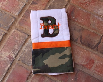 Baby Boy/ Girl Camo Inital burp cloth